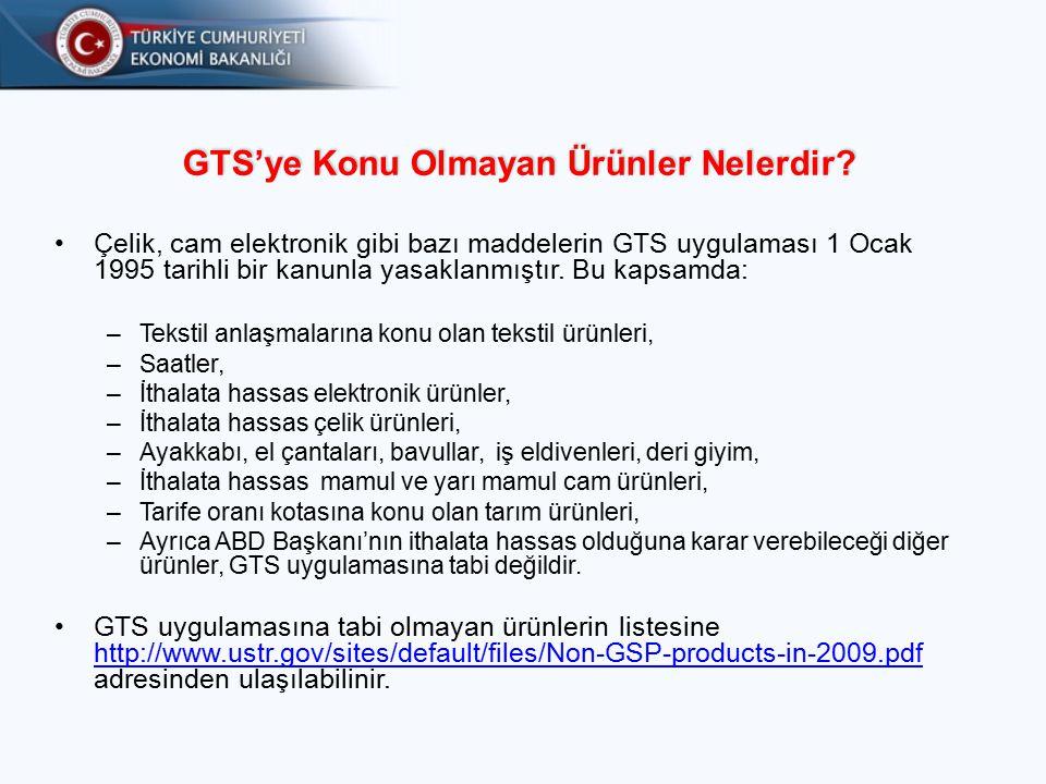 GTS'ye Konu Olmayan Ürünler Nelerdir
