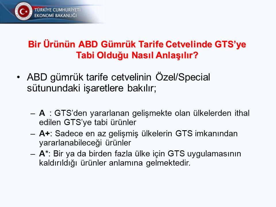 Bir Ürünün ABD Gümrük Tarife Cetvelinde GTS'ye Tabi Olduğu Nasıl Anlaşılır