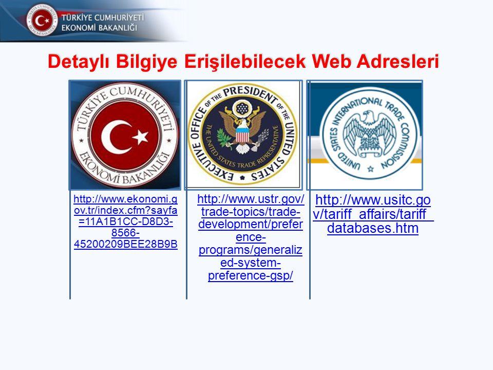 Detaylı Bilgiye Erişilebilecek Web Adresleri