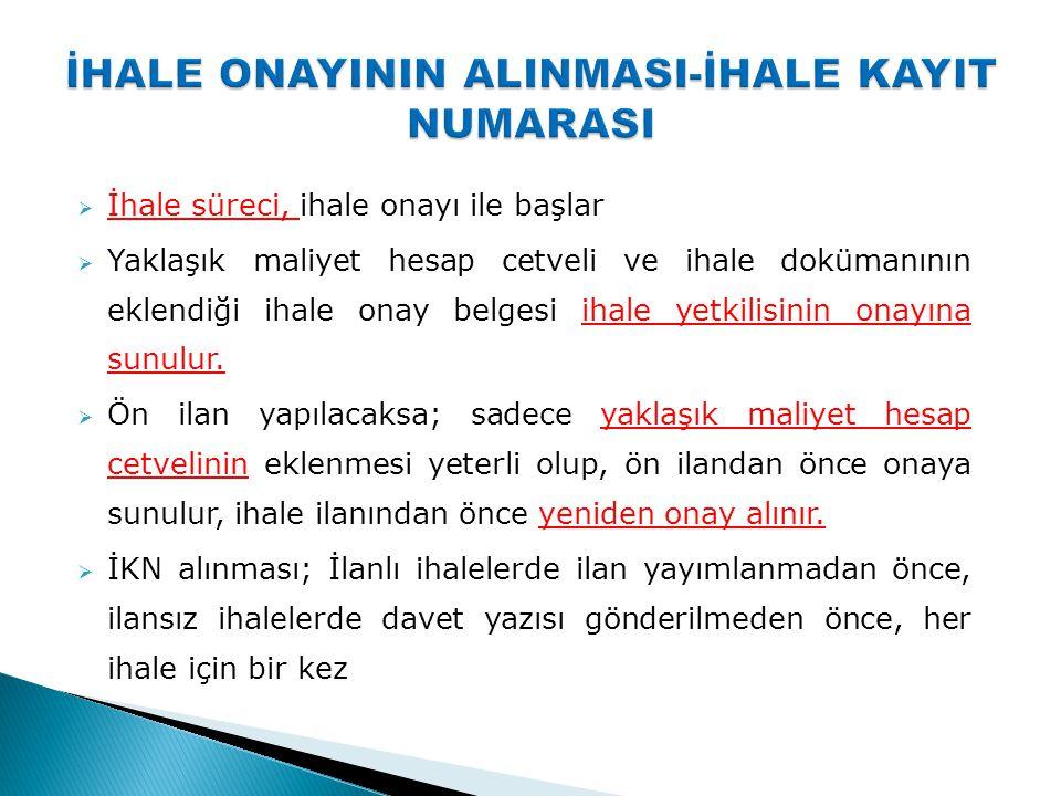 İHALE ONAYININ ALINMASI-İHALE KAYIT NUMARASI