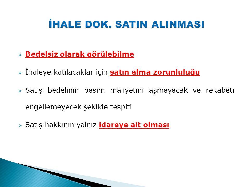 İHALE DOK. SATIN ALINMASI