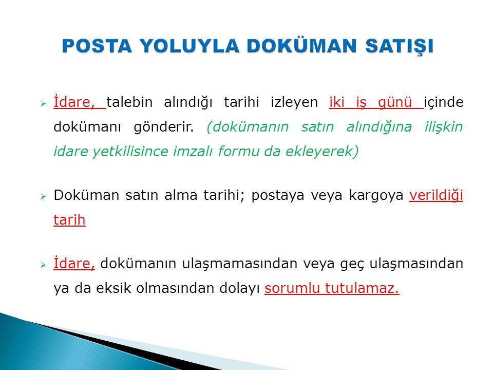 POSTA YOLUYLA DOKÜMAN SATIŞI