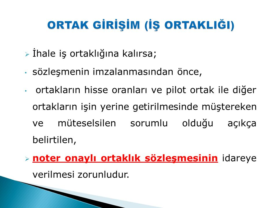 ORTAK GİRİŞİM (İŞ ORTAKLIĞI)