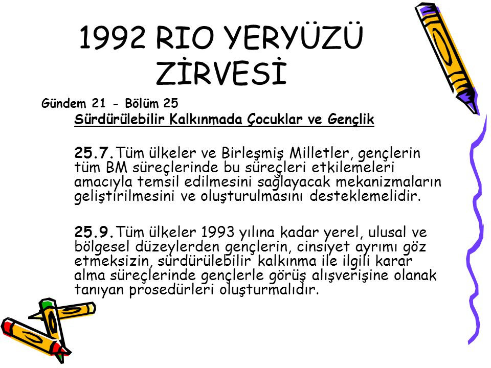 1992 RIO YERYÜZÜ ZİRVESİ Gündem 21 - Bölüm 25. Sürdürülebilir Kalkınmada Çocuklar ve Gençlik.
