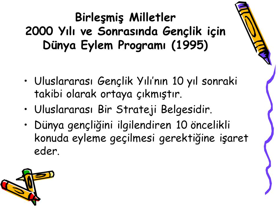 Birleşmiş Milletler 2000 Yılı ve Sonrasında Gençlik için Dünya Eylem Programı (1995)