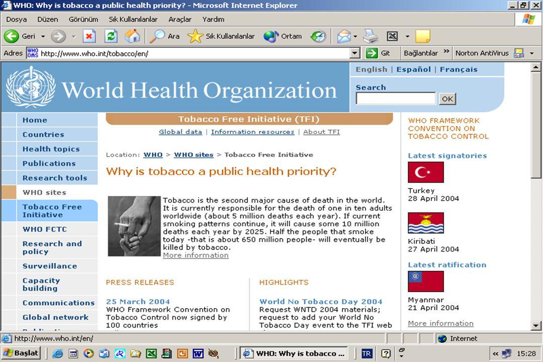 Tütün kullanımının artarak dünya çapında sağlığa olan tehdidi ve tütün şirketleri tarafından gelişmekte olan ülkelerde pazar oluşturma stratejilerine karşı olarak geliştirilen ve dünyada tütün kontrolüne yönelik ilk uluslararası anlaşma Tütün Kontrol Çerçeve Sözleşmesi 28 Nisan 2004 tarihinde Sağlık Bakanımız Prof.