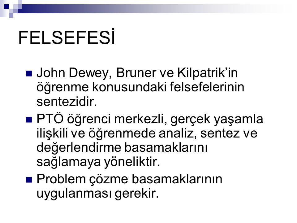 FELSEFESİ John Dewey, Bruner ve Kilpatrik'in öğrenme konusundaki felsefelerinin sentezidir.