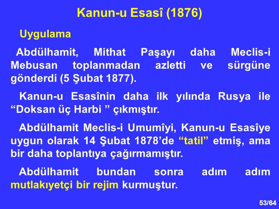 Kanun-u Esasî (1876) Uygulama