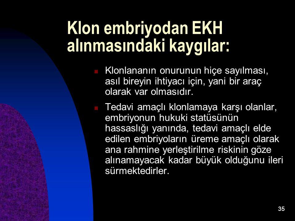 Klon embriyodan EKH alınmasındaki kaygılar:
