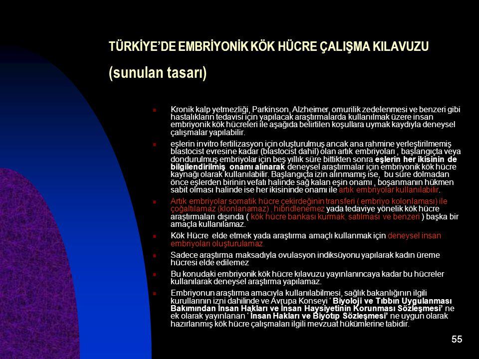 TÜRKİYE'DE EMBRİYONİK KÖK HÜCRE ÇALIŞMA KILAVUZU (sunulan tasarı)