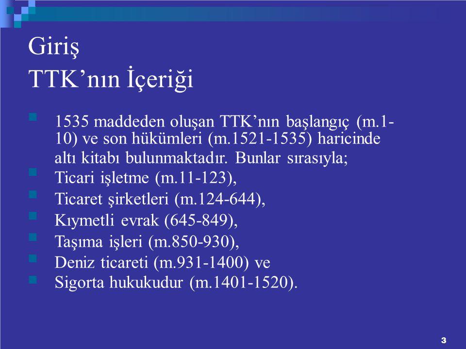 Giriş TTK'nın İçeriği 1535 maddeden oluşan TTK'nın başlangıç (m.1-