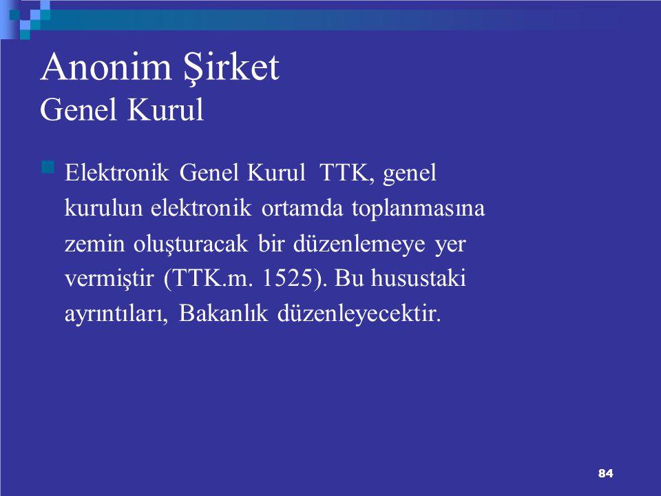 Anonim Şirket Genel Kurul Elektronik Genel Kurul TTK, genel