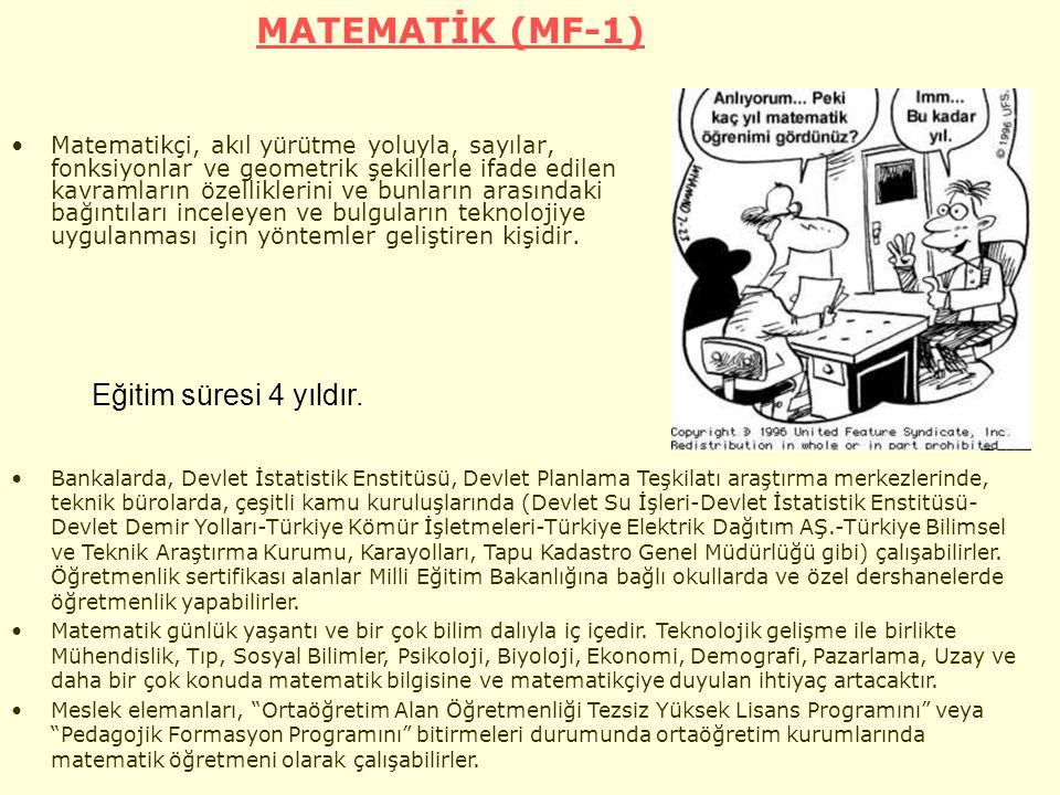 MATEMATİK (MF-1) Eğitim süresi 4 yıldır.