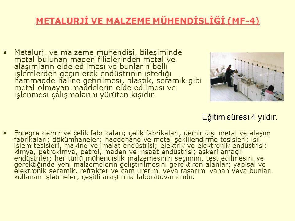 METALURJİ VE MALZEME MÜHENDİSLİĞİ (MF-4)