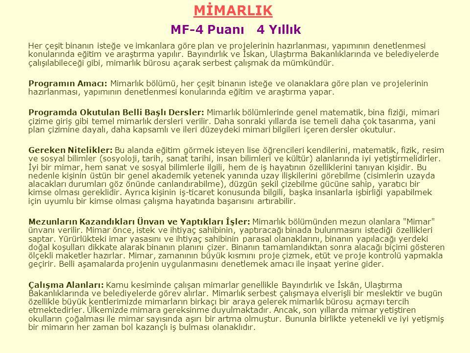 MİMARLIK MF-4 Puanı 4 Yıllık