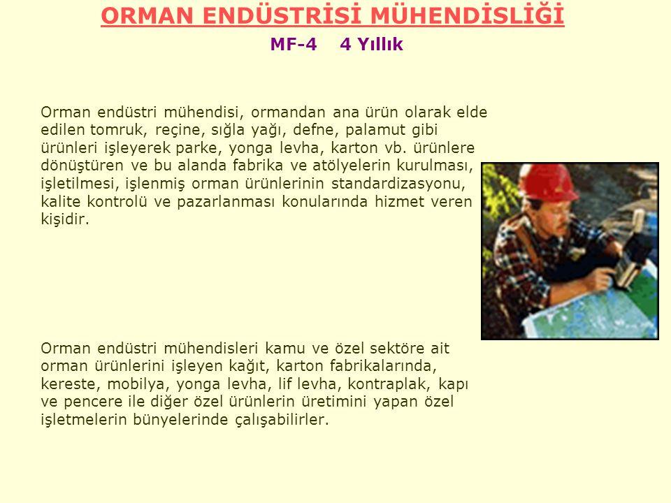ORMAN ENDÜSTRİSİ MÜHENDİSLİĞİ MF-4 4 Yıllık