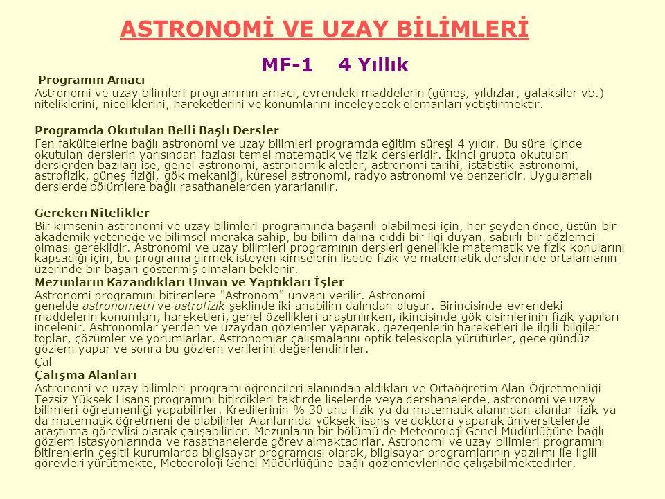 ASTRONOMİ VE UZAY BİLİMLERİ MF-1 4 Yıllık