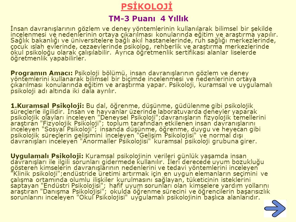 PSİKOLOJİ TM-3 Puanı 4 Yıllık