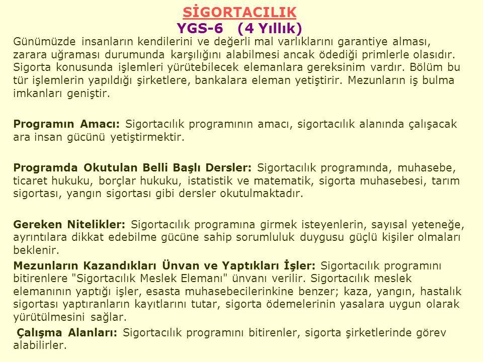 SİGORTACILIK YGS-6 (4 Yıllık)