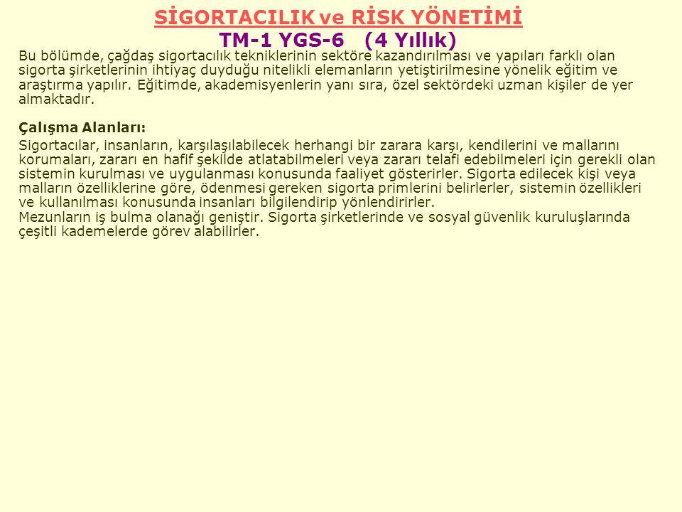 SİGORTACILIK ve RİSK YÖNETİMİ TM-1 YGS-6 (4 Yıllık)