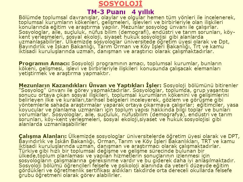 SOSYOLOJİ TM-3 Puanı 4 yıllık