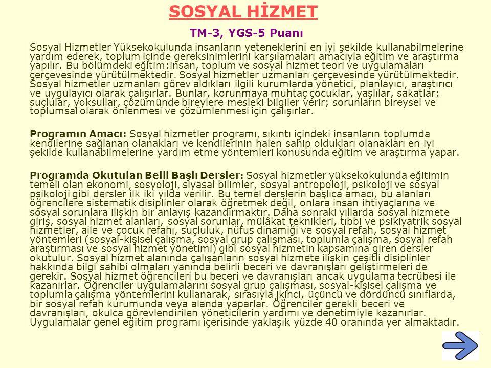 SOSYAL HİZMET TM-3, YGS-5 Puanı