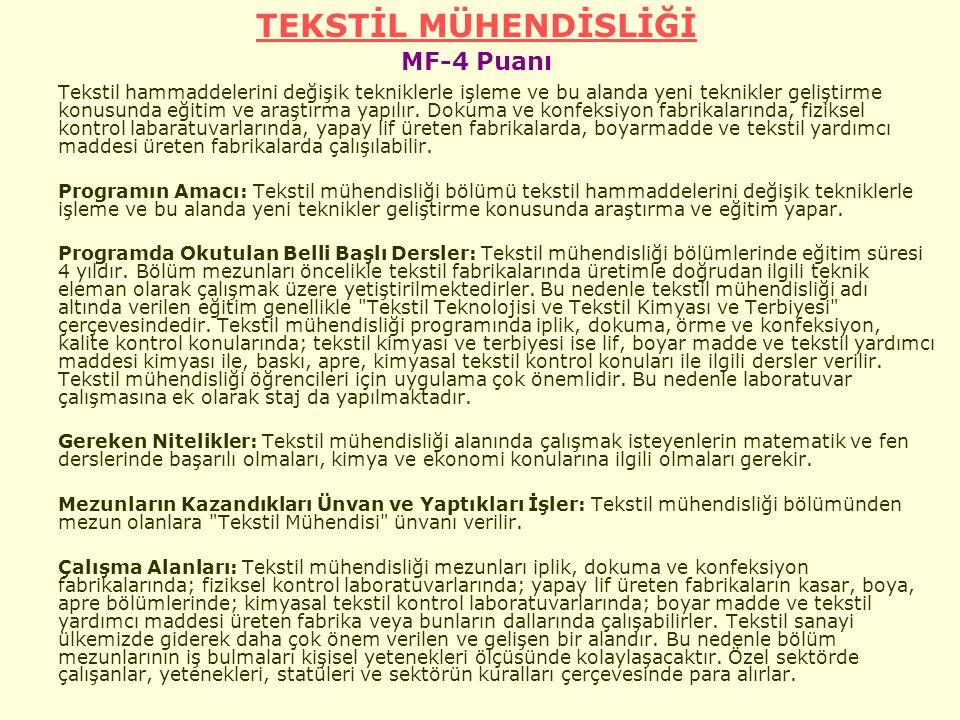 TEKSTİL MÜHENDİSLİĞİ MF-4 Puanı