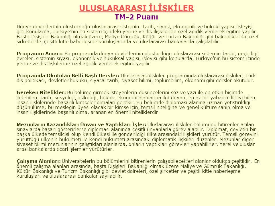 ULUSLARARASI İLİŞKİLER TM-2 Puanı