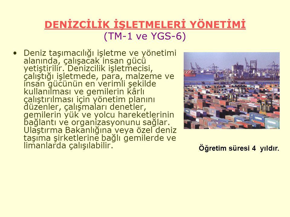 DENİZCİLİK İŞLETMELERİ YÖNETİMİ (TM-1 ve YGS-6)
