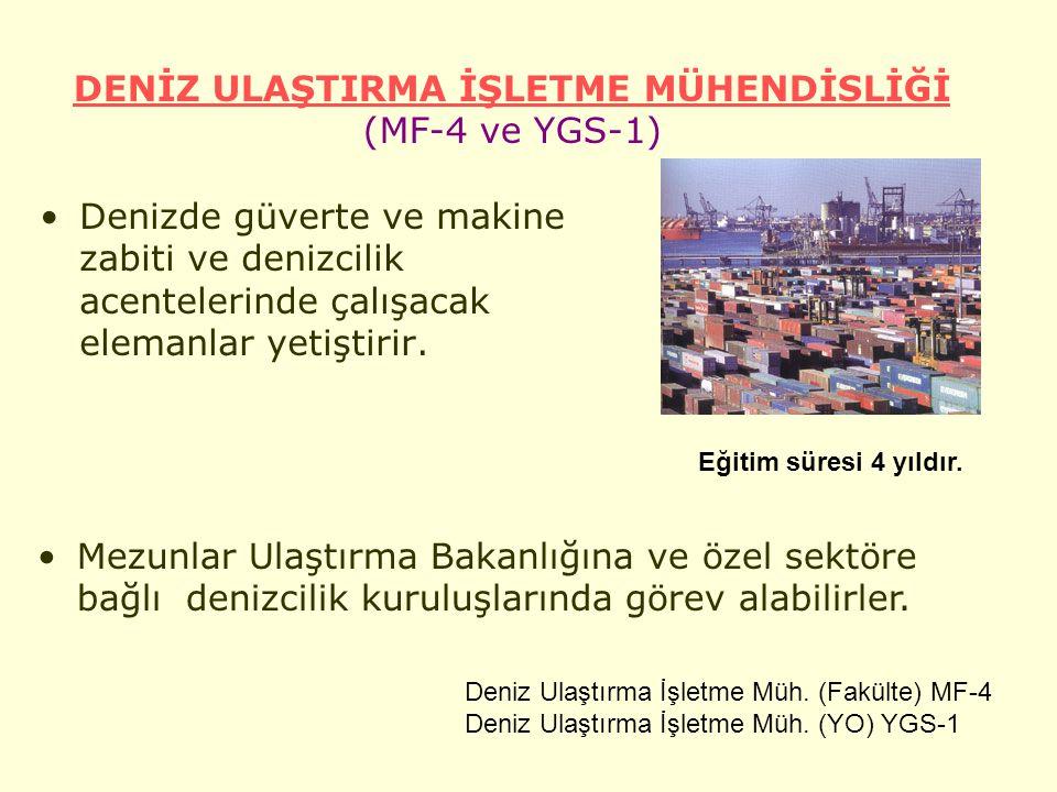 DENİZ ULAŞTIRMA İŞLETME MÜHENDİSLİĞİ (MF-4 ve YGS-1)
