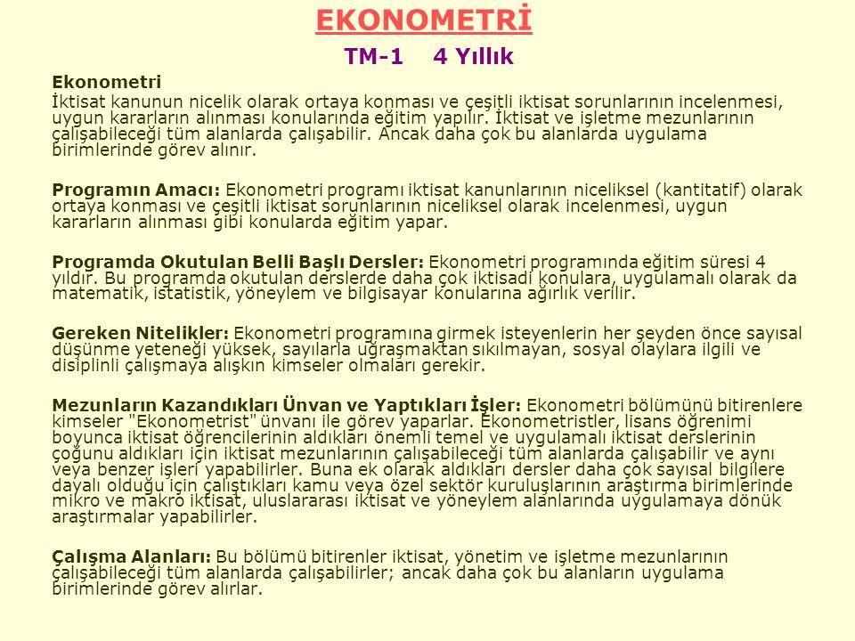 EKONOMETRİ TM-1 4 Yıllık Ekonometri