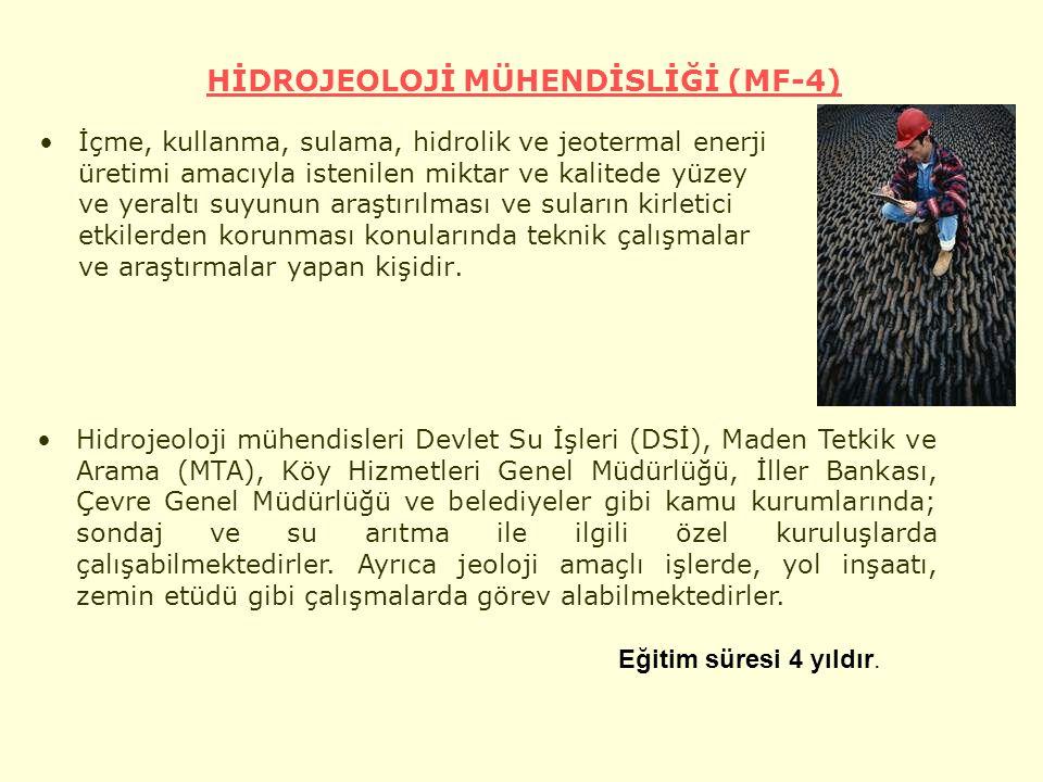 HİDROJEOLOJİ MÜHENDİSLİĞİ (MF-4)