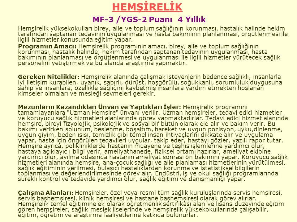 HEMŞİRELİK MF-3 /YGS-2 Puanı 4 Yıllık