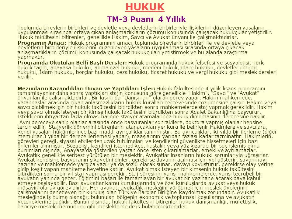 HUKUK TM-3 Puanı 4 Yıllık