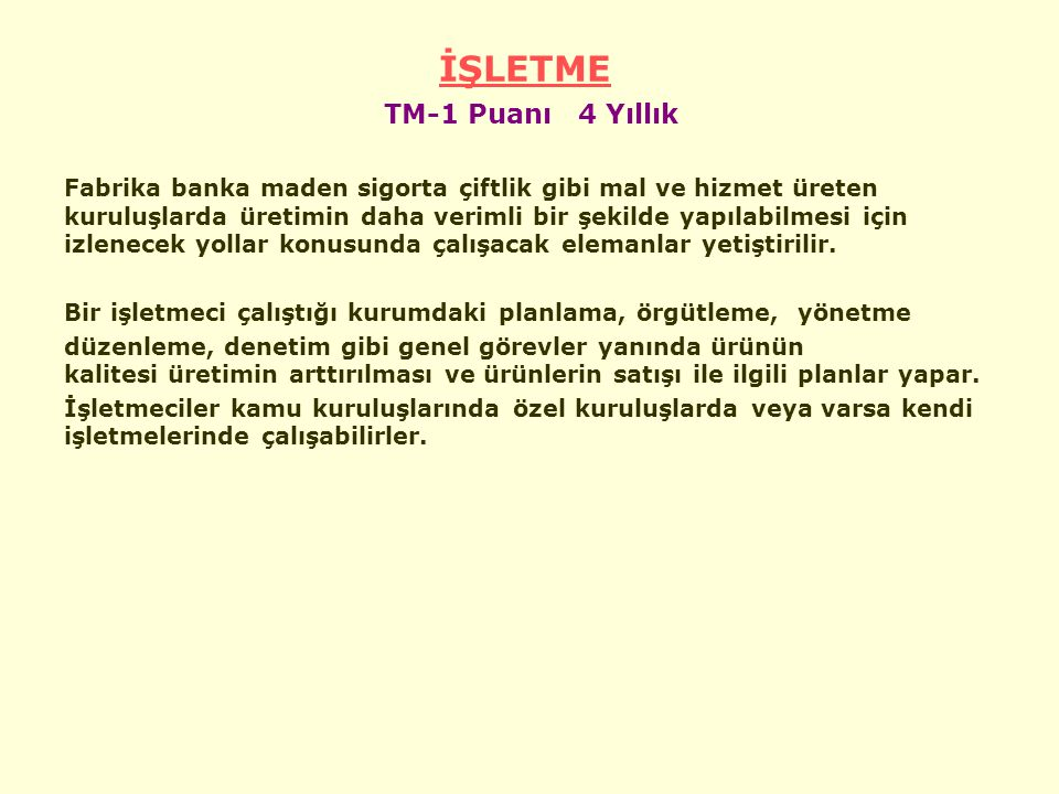 İŞLETME TM-1 Puanı 4 Yıllık