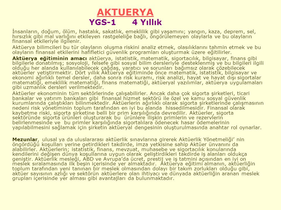AKTUERYA YGS-1 4 Yıllık.
