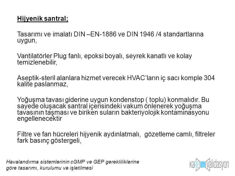Tasarımı ve imalatı DIN –EN-1886 ve DIN 1946 /4 standartlarına uygun,