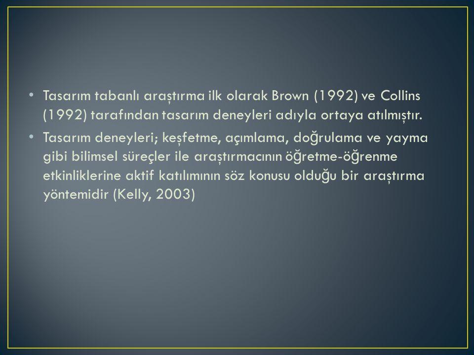 Tasarım tabanlı araştırma ilk olarak Brown (1992) ve Collins (1992) tarafından tasarım deneyleri adıyla ortaya atılmıştır.