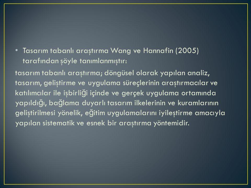 Tasarım tabanlı araştırma Wang ve Hannafin (2005) tarafından şöyle tanımlanmıştır: