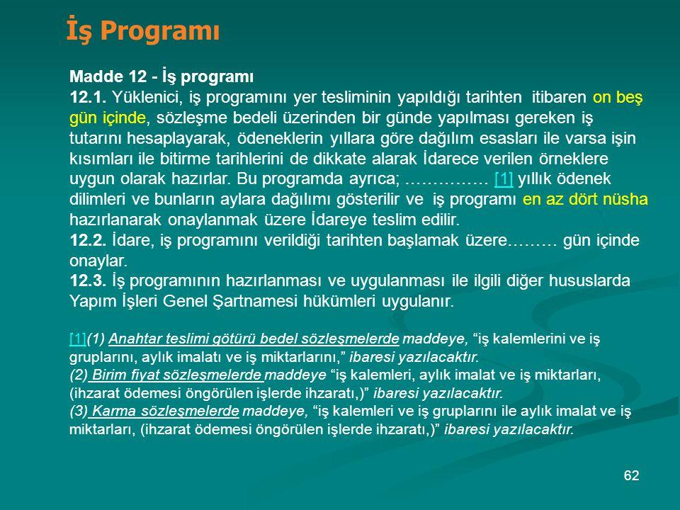 İş Programı Madde 12 - İş programı