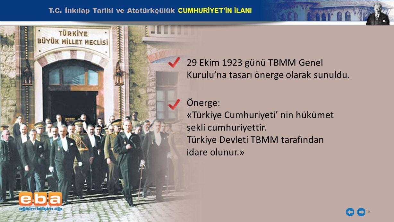 T.C. İnkılap Tarihi ve Atatürkçülük CUMHURİYET'İN İLANI