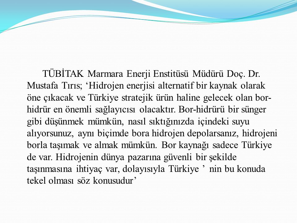 TÜBİTAK Marmara Enerji Enstitüsü Müdürü Doç. Dr