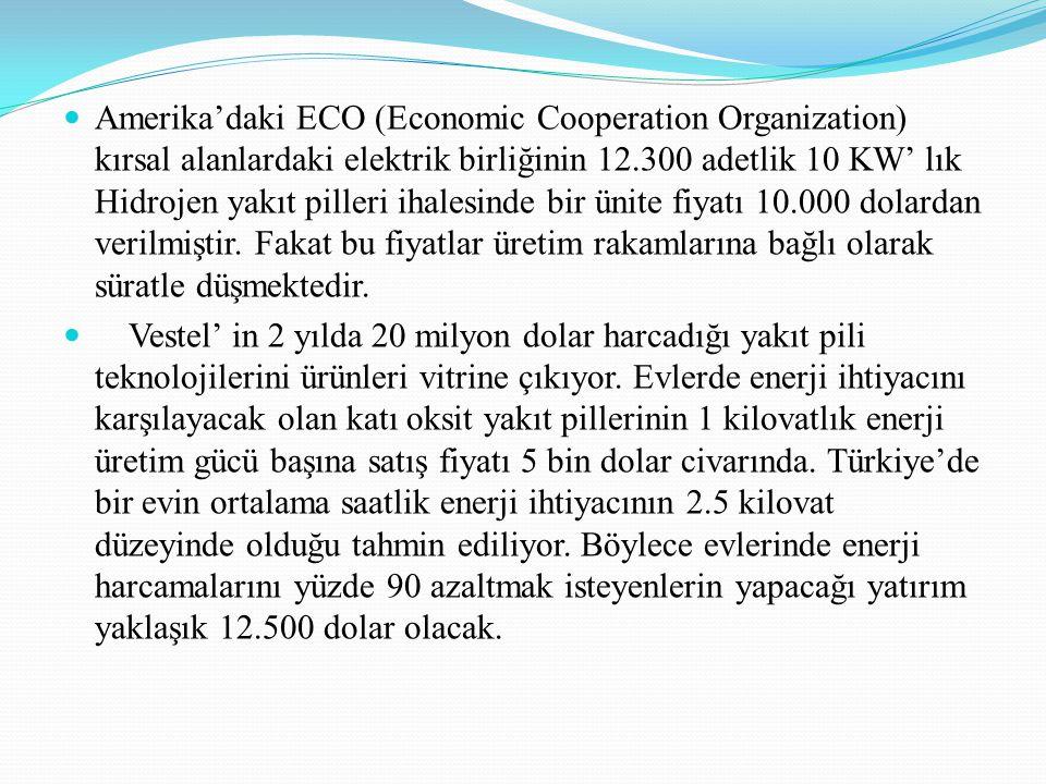 Amerika'daki ECO (Economic Cooperation Organization) kırsal alanlardaki elektrik birliğinin 12.300 adetlik 10 KW' lık Hidrojen yakıt pilleri ihalesinde bir ünite fiyatı 10.000 dolardan verilmiştir. Fakat bu fiyatlar üretim rakamlarına bağlı olarak süratle düşmektedir.