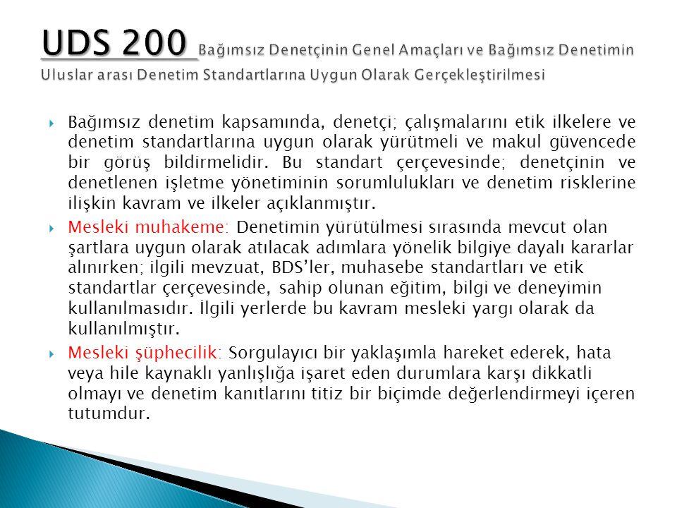 UDS 200 Bağımsız Denetçinin Genel Amaçları ve Bağımsız Denetimin Uluslar arası Denetim Standartlarına Uygun Olarak Gerçekleştirilmesi