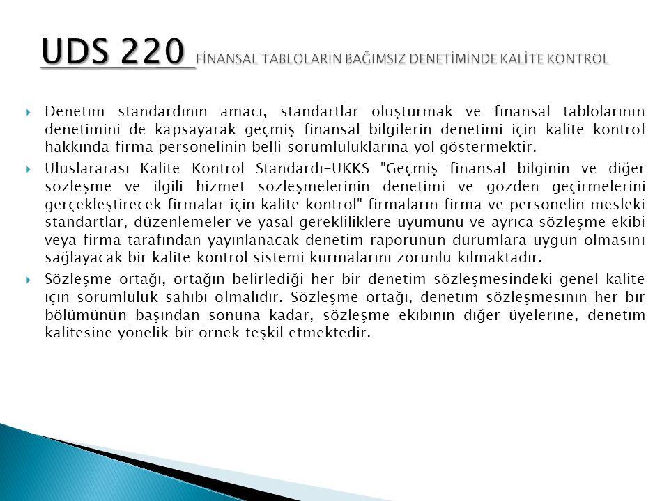 UDS 220 FİNANSAL TABLOLARIN BAĞIMSIZ DENETİMİNDE KALİTE KONTROL