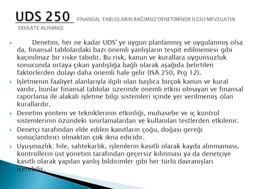 UDS 250 FİNANSAL TABLOLARIN BAĞIMSIZ DENETİMİNDE İLGİLİ MEVZUATIN DİKKATE ALINMASI
