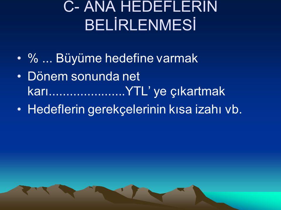 C- ANA HEDEFLERİN BELİRLENMESİ