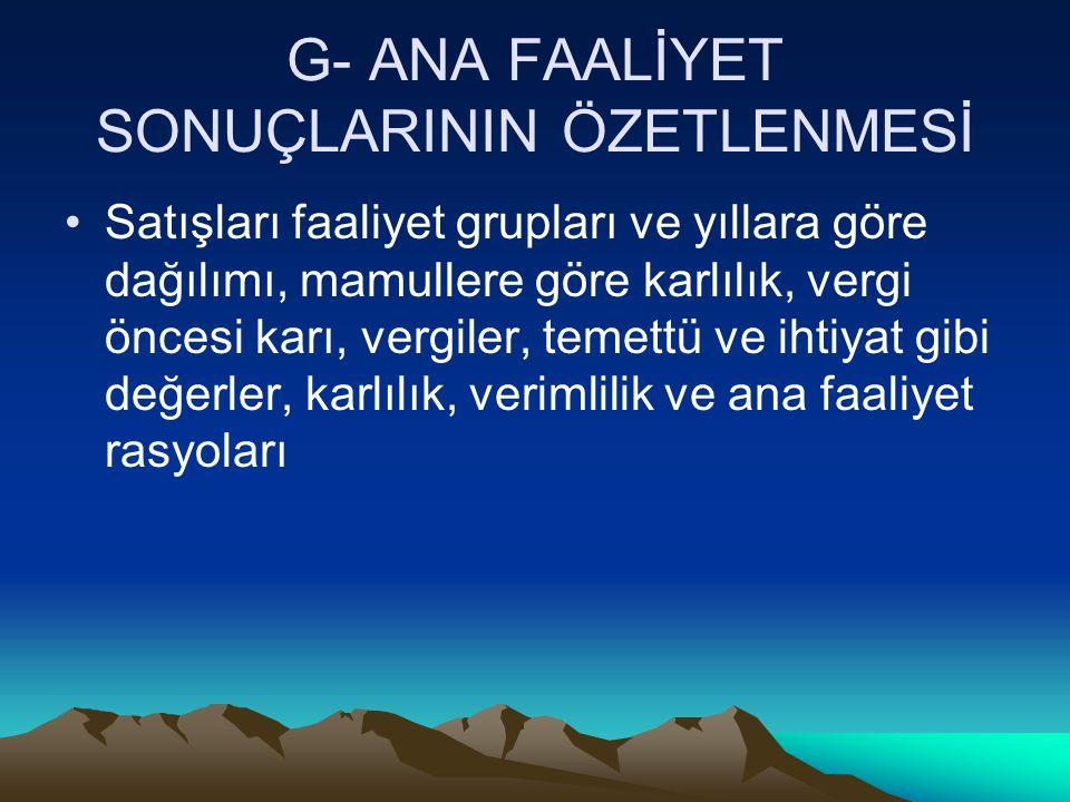 G- ANA FAALİYET SONUÇLARININ ÖZETLENMESİ