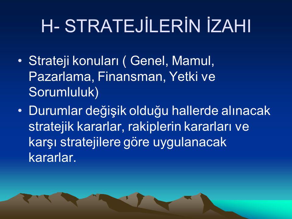 H- STRATEJİLERİN İZAHI
