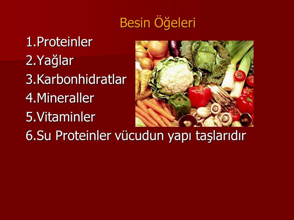 Besin Öğeleri 1.Proteinler. 2.Yağlar. 3.Karbonhidratlar.